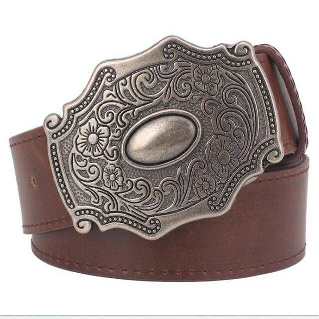 Mode femmes en cuir ceinture Rétro motif ceintures Antique palais style  ceinture Boucle En Métal Classique d558ef08d35
