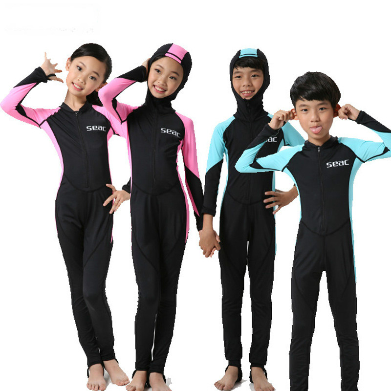 hisea 0.5mm lycra Wetsuit Kids Swimsuit Equipment Diving Scuba Swimming Surfing Spearfishing Suit Wetsuits one piece swimsuit