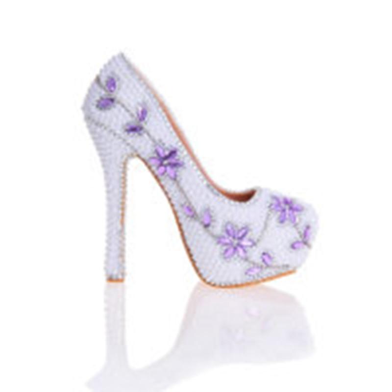 963bb916b2c4ac Talons White Avec De Mariée Date Bal Heels 14cm Partie Violet Stiletto  Blanc white Perles Fleurs ...