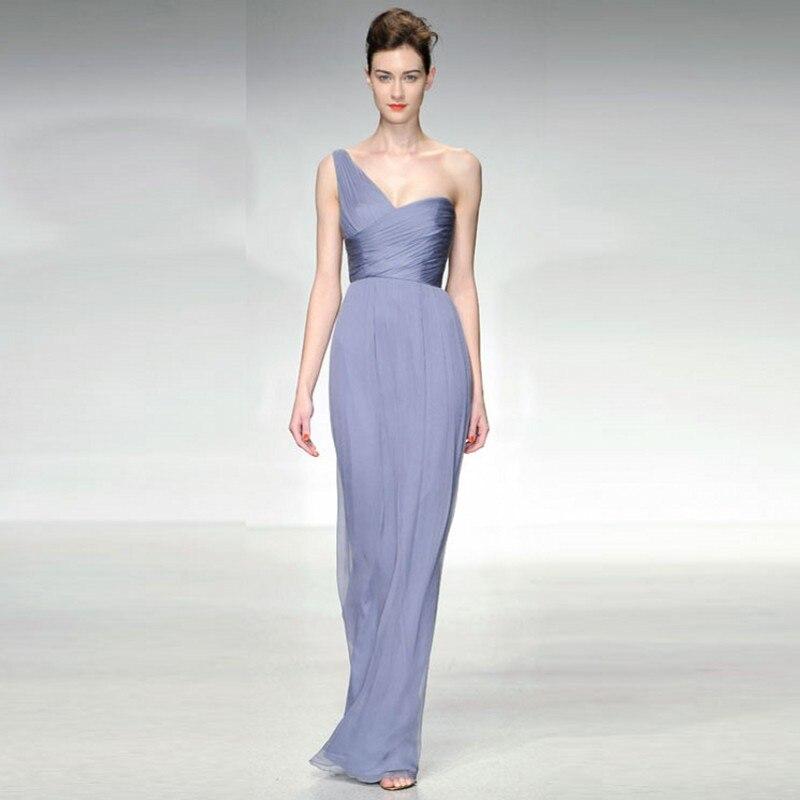 Modest Simple Lavender Chiffon Evening Dresses Long Formal