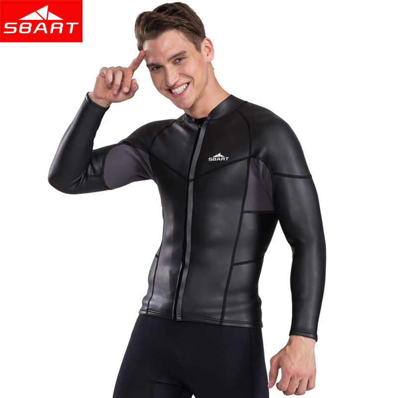 SBART 2MM Long Sleeve Neoprene Wetsuit Men Top Sunscreen UV Smoothskin Jacket For Swimming Jumpsuit Surfing Diving Shirt Wetsuit sbart 2mm neoprene short sleeve one pieces wetsuit men
