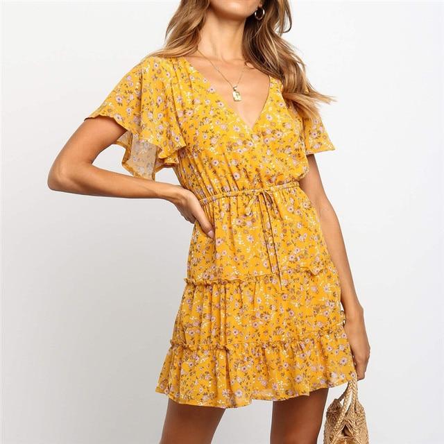 New Summer Chiffon Dress Women Floral V Neck Party Dress Bandage Short Butterfly Sleeve Beach Dress Sundress Loose Robe Femme