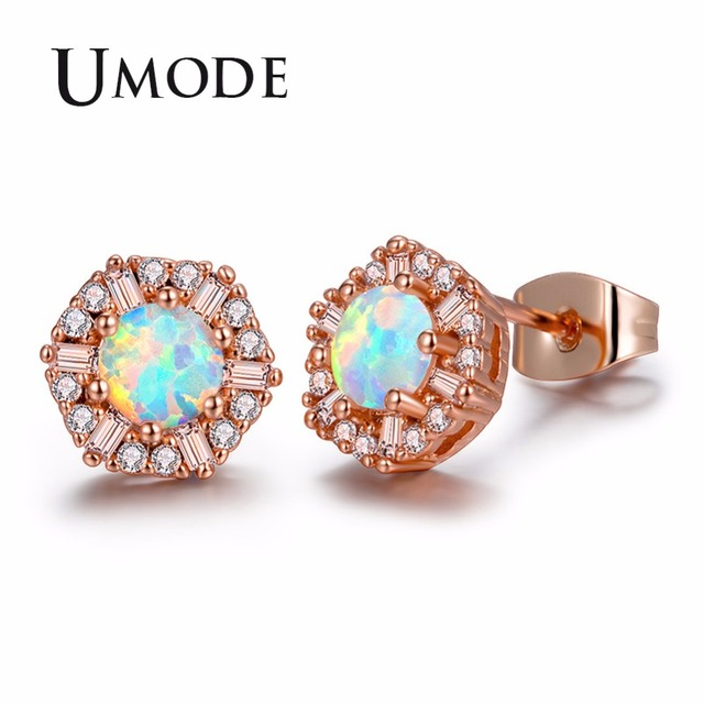 Umode Cute Round White Fire Opal Stone Snow Flower Stud Earrings For Women Rose Gold Wedding