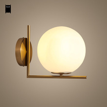 лучшая цена Gold Milky Glass Ball Globe Wall Lamp Fixture Modern Nordic Scandinavian Sconce Light Luminaria Design Bedroom Bedside Hallway