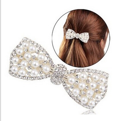 New Luxury Golden Silver Shining Crystal Big Pearl Hair Clip Barrettes Bownot Hairwear For Women Hairpin Christmas Gift Bijoux