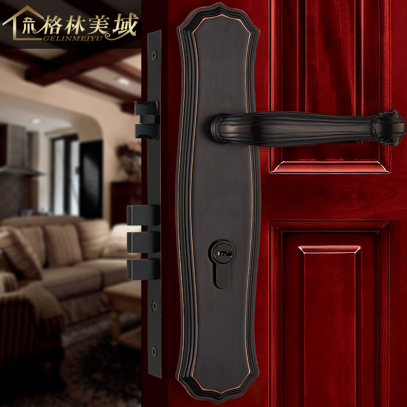 Pure copper door lock European Continental interior door lock all copper lock villa door lock ceramic lock the door when indoor european ball lock hold hand lock copper core ss