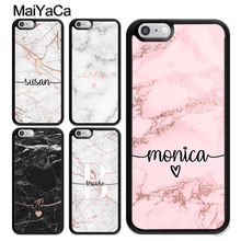 MaiYaCa PERSONALISED ROSE GOLD MARBLE CUSTOM NAME INITIALS TPU Case For iphone X XR XS MAX 6S 6 7 8 Plus 5 SE Rubber Phone Cover
