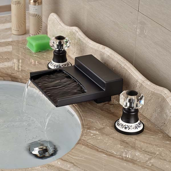 New Crystal Ceramic Handles Oil Rubbed Bronze Bathroom Faucet Widespread Mixer Tap