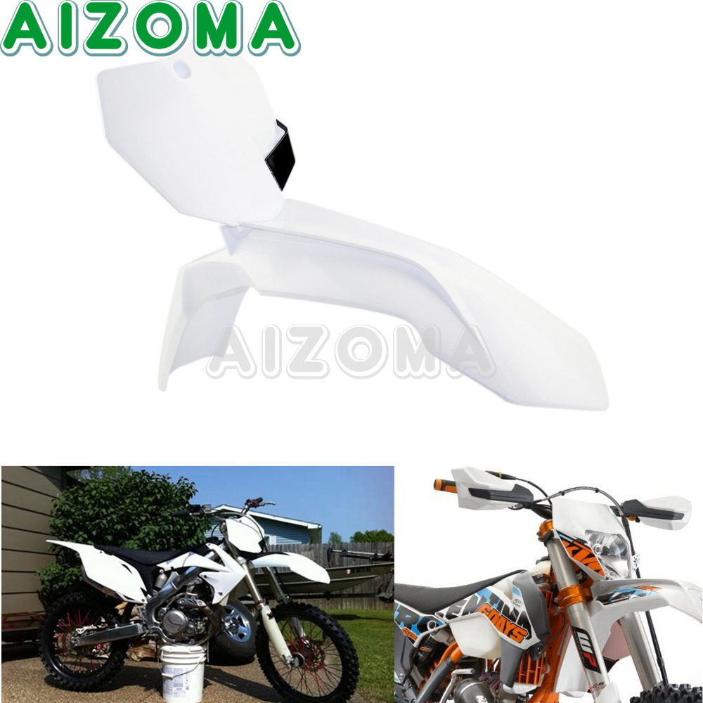 Enduro Motocross White Front Fender Mudguard w/Number Plate for KTM 85/125/250/300/350/450/500 XC SX SXF EXC SXS XCF EXC F 13 16