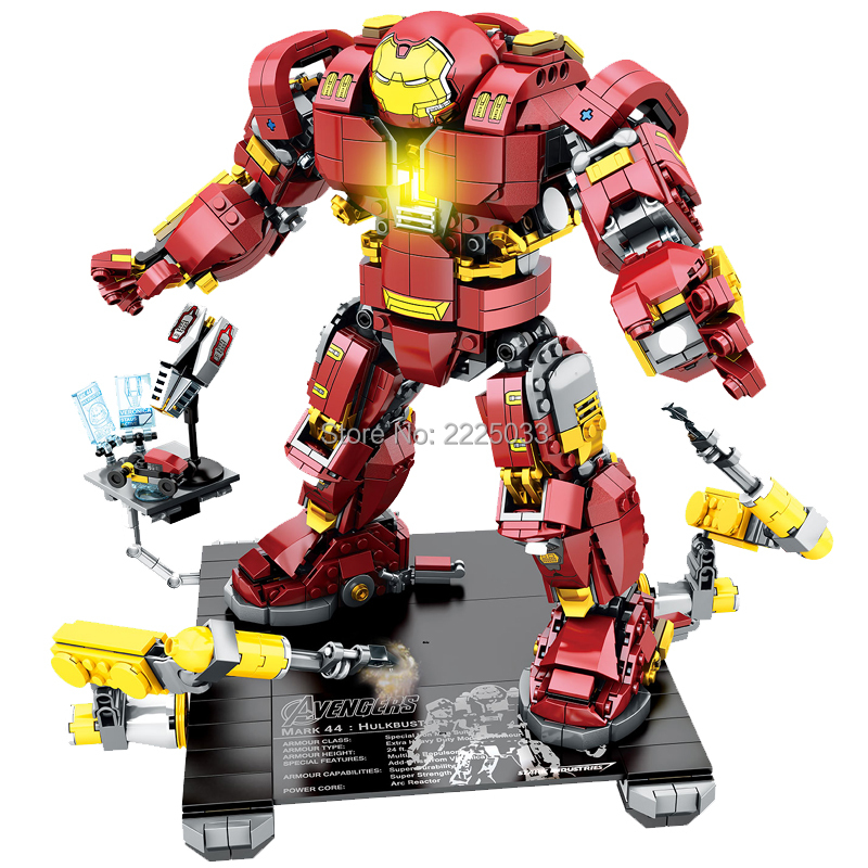 New 1530pcs Marvel SuperHero Battle the Hulk with Hulkbuster Ultron Edition MK44 Mech compatible legoeinglys Building block toys