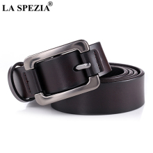 LA SPEZIA Real Leather Belt Women Vintage Coffee Pin Buckle Jeans Ladies Classic Genuine Cow Female Belts 115cm
