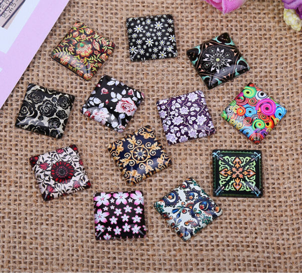 10mm 15mm 20mm 25mm Decorative Pattern A Square Handmade Photo Glass Cabochons & Glass Dome Cover Pendant Cameo Settings