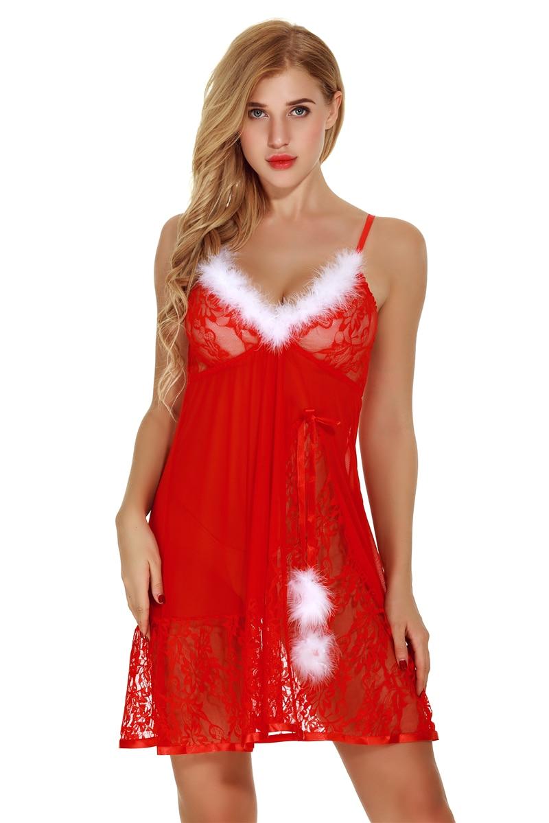 MUSHIERYA Sexy Christmas Babydoll Sleepwear Lingerie Sexy Hot Erotic Costumes Plus Size Sleepwear Women Sexy Lingerie Nightdress