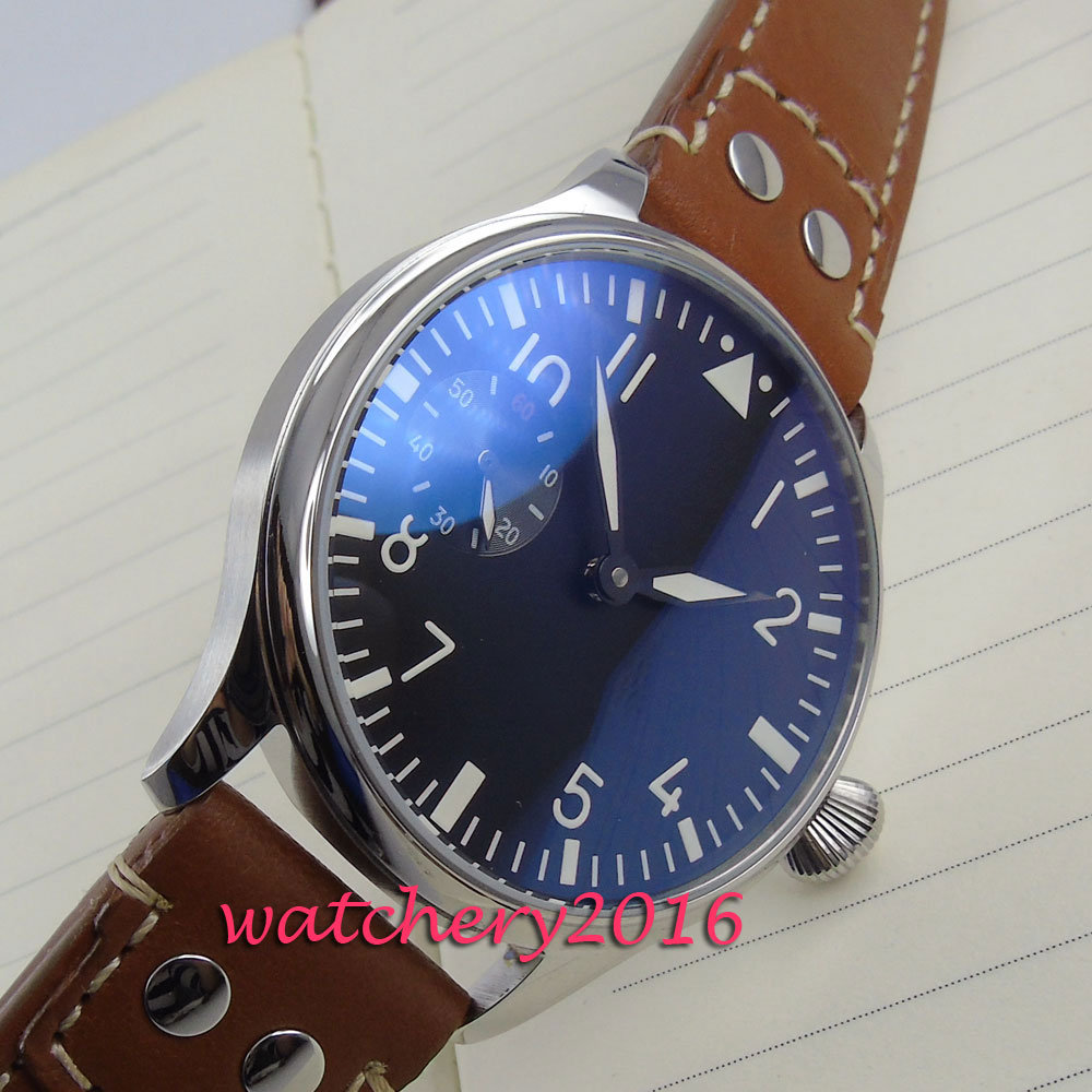 44mm Parnis black dial brown leather hand winding 6497 movement Mens Wrist Watch цены онлайн