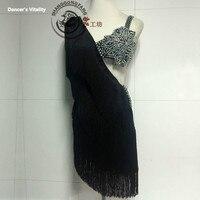 Women Performance Latin Dance Clothes Diamonds Latin Dance Dress Girls Latin Dance Skirt Latin Tassel Dancing