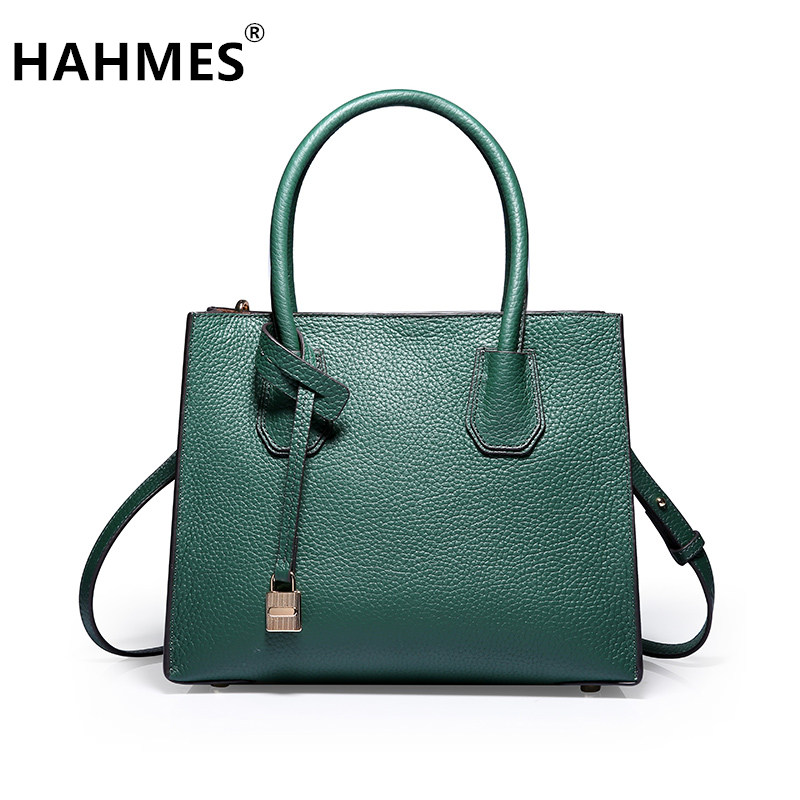 HAHMES 100% Genuine Leather Women's Bag Fashion handbag quality designer cow leather shoulder bag 26cm 10871 hahmes 100