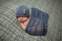 ホット販売かわいい新生児手作り ウール編み帽子付き グレー毛布新生児写真の小道具、 新生児帽子/ キャップ