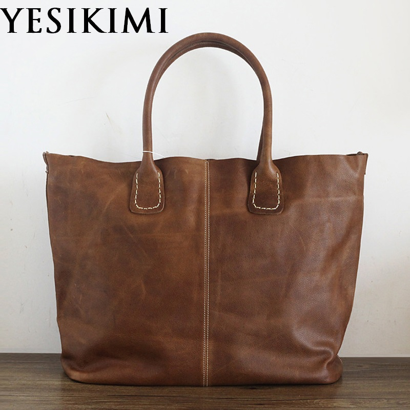2018 New Handmade Casual Tote Vintage Women Large Handbag Genuine Leather Composite Bag Nature Cow Leather