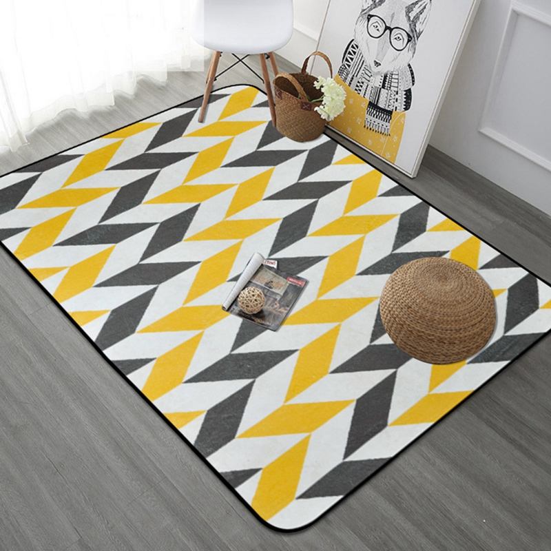 Nordic Gray Yellow Geometric Carpet Rugs For Living Room Rectangle Area Floor Mats Safety Kids Carpet Home Decor Mat Tapete