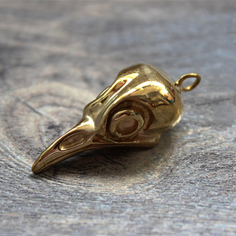 Brass Bird Skull EDC Key Pendant Knife Beads EDC Multi Tools