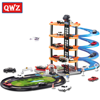 QWZ DIY Track 3D Car Racing Track Toys Car Parking lot Assemble Railway Rail Car Toy DIY Slot Model toys for kids Children Gifts