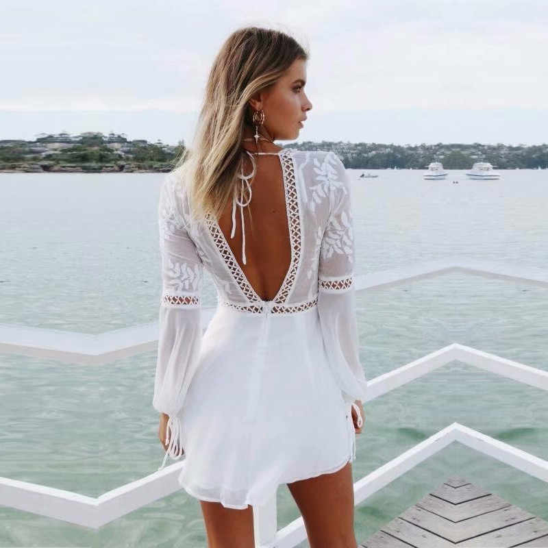 973af4628a27 yinlinhe White Short Beach Jumpsuit Women Sexy Transparent Rompers Long  Sleeve backless Lace Playsuit Summer boho