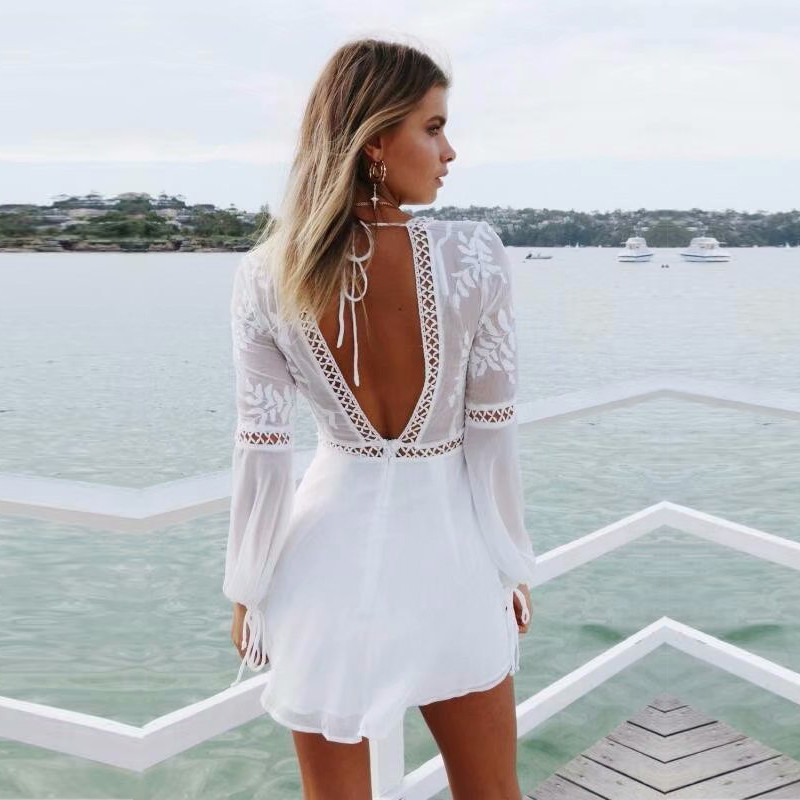 yinlinhe White Short Beach   Jumpsuit   Women overalls Sexy Transparent Rompers Long Sleeve backless Lace Summer boho Playsuit 608