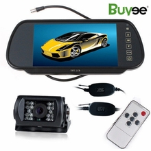 все цены на Buyee Wireless 7 inch TFT LCD Car Rearview Screen Mirror Monitor with vehicle park camera 18 LED IR Rear View Car Reverse Camera онлайн