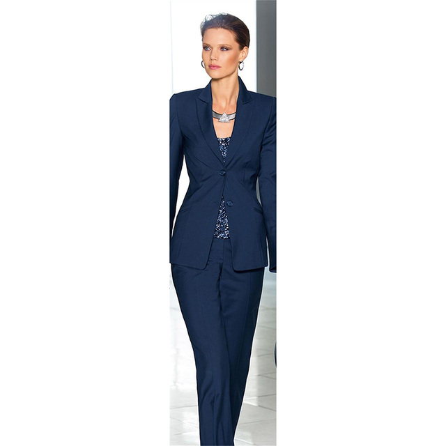 Jacket Pants Women Business Suits Navy Blue Two Button Female ...