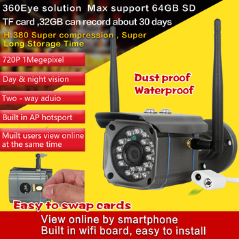 Outdoor Water-proof 720P Wireless  IP Bullet Camera Support AP Hotspot and TF Card Storage and Alarm  Sensor