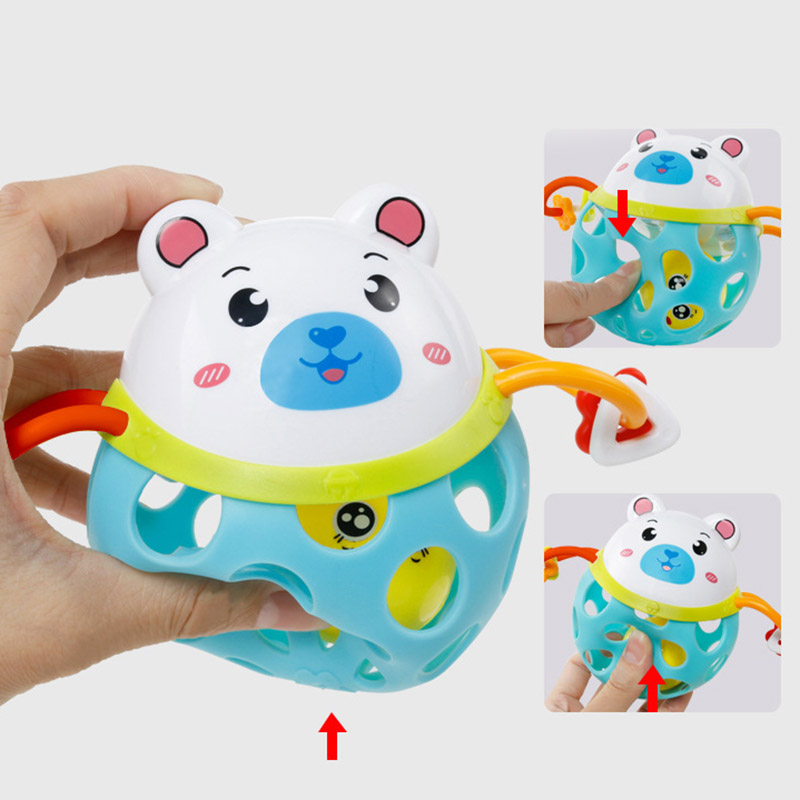 Hot Selling Cute Baby Rattle Animal Tiger/Pig/Frog/Bear Ball Teether Infants Toy Best Baby Toys(China)