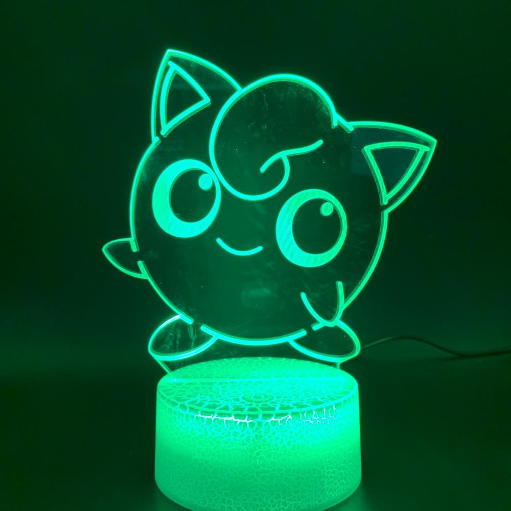 Cute Pokemon Go Jigglypuff Figure Led Night Light Birthday Gift for Kids Bedroom Home Decor Baby Nightlight Battery Usb 3d Lamp in LED Night Lights from Lights Lighting
