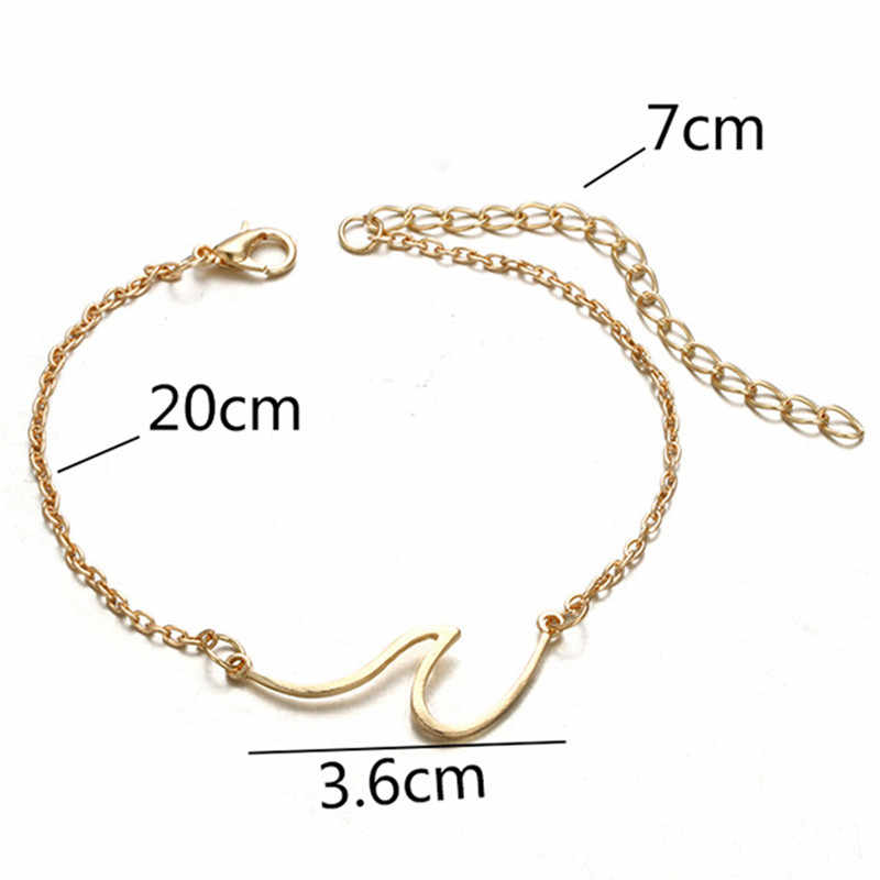גל תליון Anklets לנשים זהב/כסף 2018 צמיד צמידי על רגל רגל חוף תכשיט