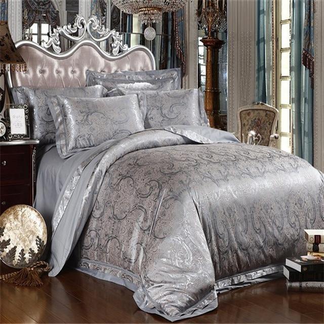 Silver Grey Satin Silk Jacquard Bedding Set Comforter Quilt Duvet Cover Bed Sheet