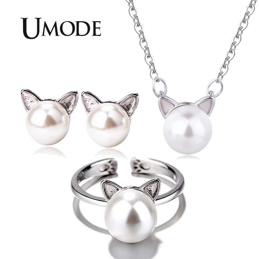 UMODE Girls Kids Cute Cat Ear Pearl Stud Earrings Adjustable Rings Chain Necklaces Jewelry Set Womens Jewellery femme US0052