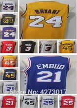 Mens 21 Joel Embiid jerseys 25 Ben Simmons jersey 24 Bryant 45 Donovan  Mitchell jerseys Dwyane Wade Basketball Jersey aa3a2a4f3