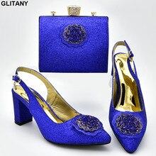 Новое поступление; итальянский дизайн; женские свадебные туфли и сумочка в комплекте; Украшенные стразами; женские вечерние туфли и сумочка в нигерийском стиле