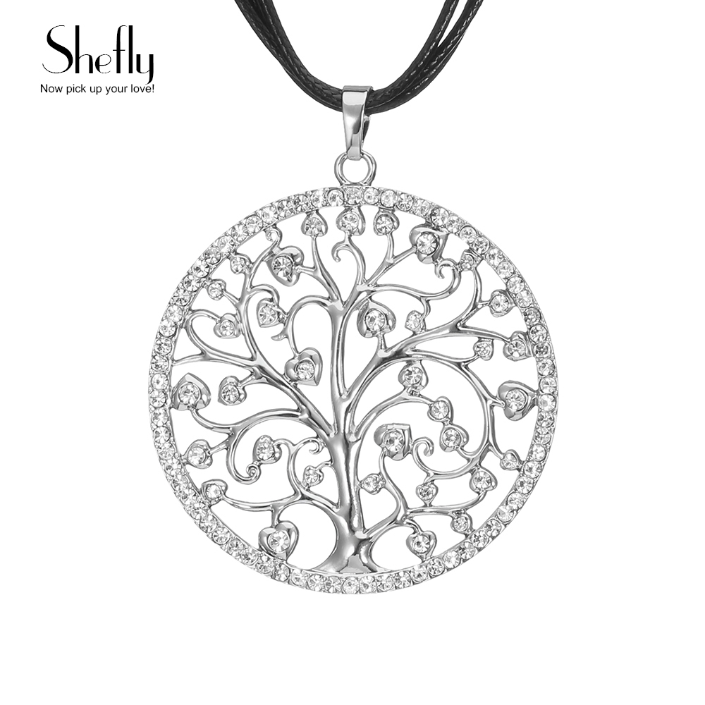 Czech Crystal Tree of Life Pendant Necklace Women Collar Long Leather Chain Round Long Necklaces & Pendants Jewelry XL06530
