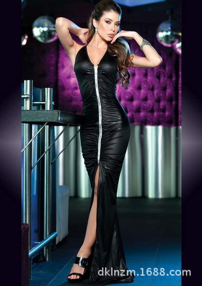 423b641d3f95f Wet Look Black Vinyl Leather Mesh Patchwork High Quality Women Sleeveless  Sexy Gown Shirred Bust Clubwear Fshion Long Dresses