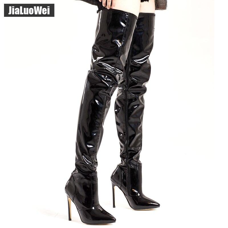 Jialuowei 12 CM haut talon fin bout pointu bottes femmes au-dessus du genou cuissardes bottes Sexy fétiche danse discothèque chaussures de fête