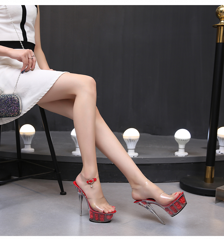 Shoes Woman New 2019 Summer High heels 15cm High Thin Heels Rose Flowers 6 Color Transparent Crystal Sandalia feminina Ladies
