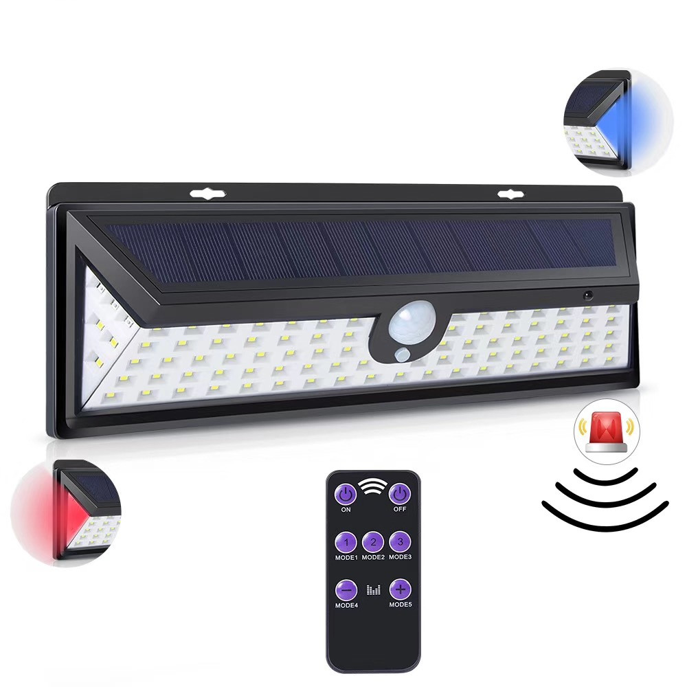 92LED Solar Light Sensor Motion With Remote Control PIR Alarm Solar Lamp For Garden Wall Solar Outdoor Lighting