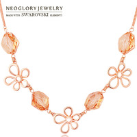 Neoglory MADE WITH SWAROVSKI ELEMENTS Crystal Charm Necklace Champagne Gold Color Elegant Flower Style Romantic Jewelry Lady