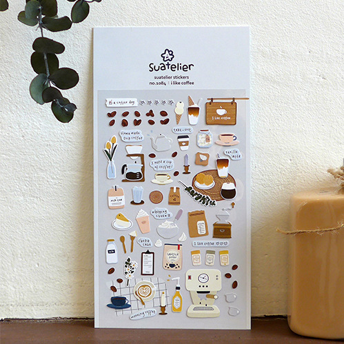 1pcs I Like Coffee Decorative Stickers Adhesive Stickers DIY Decoration Diary Stationery Stickers Children Gift