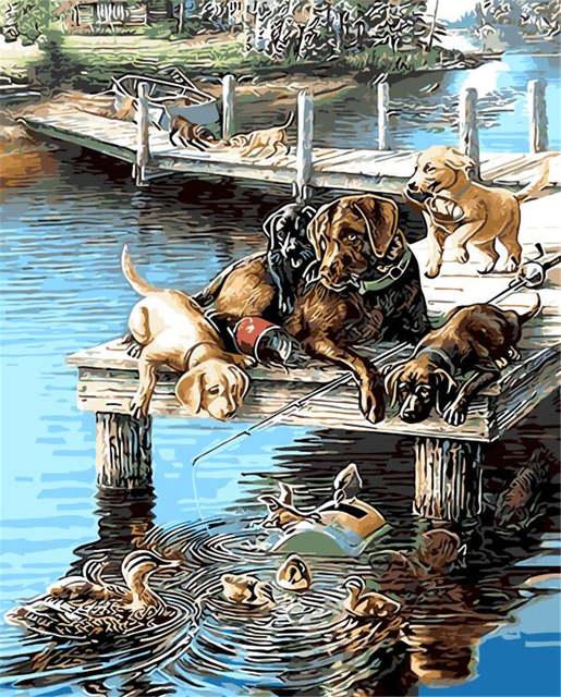 Online Shop çocuklar Için Güzel Hayvan Boyama Naif Balıkçılık Köpek