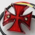 New Universal Motorcycle Chrome Mini Maltese Cross LED Tail Brake Rear Light Red Free Shipping