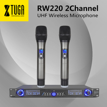 XTUGA RW220 UHF Беспроводной система микрофонов цифровой разнообразие приемник для сцены бар шоу 2 канала ручной микрофон