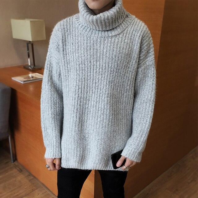 Мужской свитер с высоким воротом в Корейском стиле, новинка 2019 года, зимние повседневные мужские свободные пуловеры, свитер для мальчиков-п...