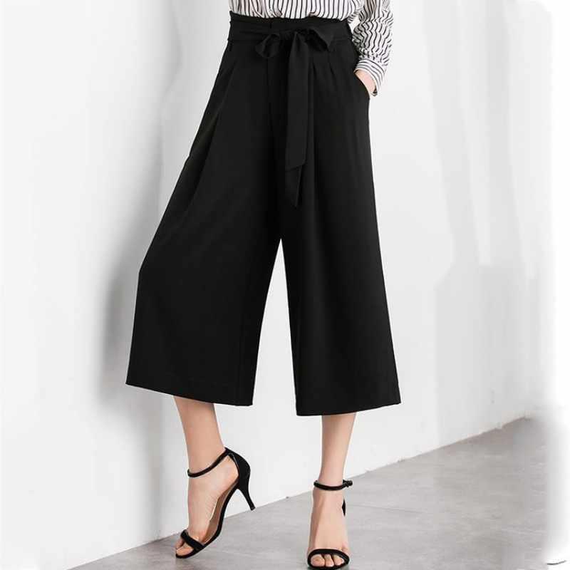 Горячая 2019 Женские повседневные свободные широкие брюки Винтажные эластичные талии повседневные брюки из хлопка негабаритные однотонные длинные брюки