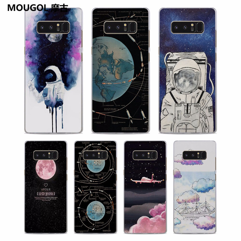 Phone Bags & Cases Space Moon Astronaut Pattern Clear Frame Hard Back Case Cover For Samsung Galaxy Note 8 Note 5 4 S6 S7 S8 S9 Plus In Short Supply Cellphones & Telecommunications